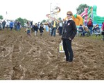 A very wet and muddy Hollowell Steam Rally - Dee is off to get us some water for kettle!
