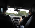 2018 August demo drive: in the car with David driving - at temporary traffic lighrs