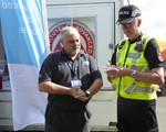 Northamptonshire Chief Constable Simon Edens doing our highway code quiz at BikeSafe, with Pete Doherty (Area Manager) looking on!