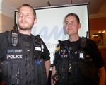 AGM Guest speakers, PC Chris Gray and PC Dave Lee, both Northants Police.  It was an excellent talk about the Safer Roads Team