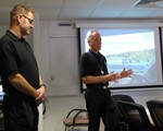 Chair John Norrie and Observer Aidan Ward setting the scene for the September classroom session ......