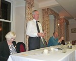 2014 AGM (April 9th), top table, from l-r: Ann Lancaster (Treasuer), John Norrie (Chair), David Smith (Secretary), and Dr John Bond, world renown forensic scientist and guest speaker