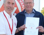 Martin Gobey receiving his Advanced Test certificate.
