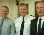 the three stoogies !   L-R: AGM guest speaker Superintendent Dave Hill, president Inspector Nigel Rickaby, and chairman John Norrie