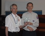 Ray receiving his 'to keep' trophythat should have been awarded at the AGM.