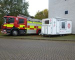 The temporary home for our display unit - Many thanks to Northamptonshire Fire and Rescue service.