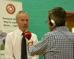 Chair, John Norrie, being interviewed live by John Griff, BBC Radio Northampton.